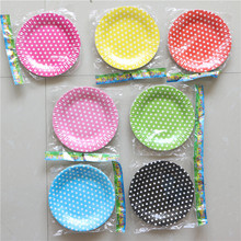 Birthday Party Dishes Kids Favors Decoration Pink Tableware Baby Shower blue/red Polka dot Theme Paper Plates Supplies 12pcs\lot