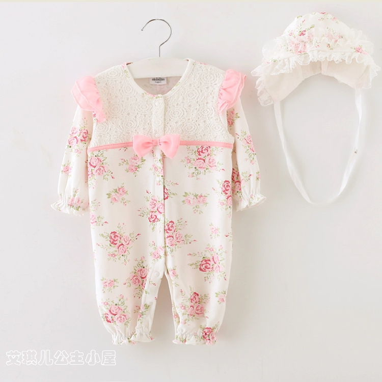 100% cotton Baby girl romper infant princess outfit lace jumpsuit new born baby Brands clothes Baby climbing clothes + hat 2pcs<br><br>Aliexpress