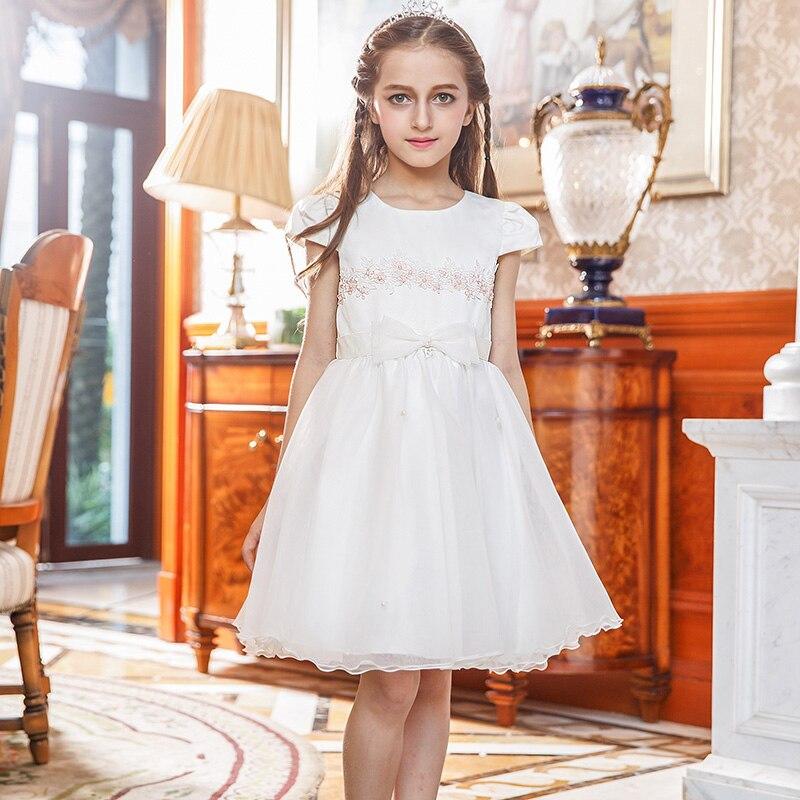 Nimble Girls Dress Appliques Satin Organza Flower Princess Dress With Bow &amp; Sashes<br><br>Aliexpress