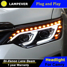 Lampever Styling for Toyota Camry V55 LED Headlight 2015 New Camry Headlights drl Lens Double Beam H7 HID Xenon