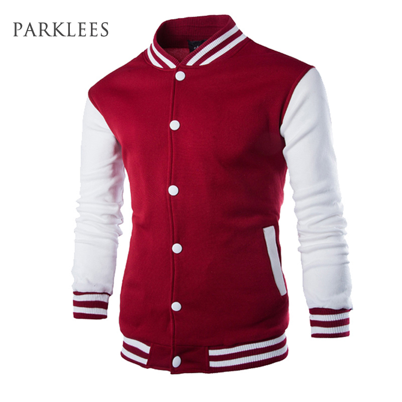New Men/Boy Baseball Jacket Men 2017 Fashion Design Wine Red Mens Slim Fit College Varsity Jacket Men Brand Stylish Veste Homme(China (Mainland))