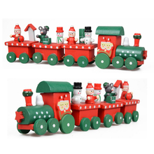 1 Set Kids Baby New Lovely Painted Wooden 4 Piece Little Train Models Blocks Children Christmas Ornament Decoration Toys Gifts