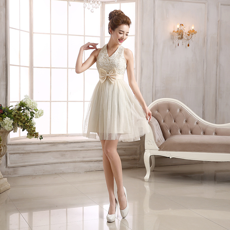 summer beach dress girls plus size champagne bridesmaid dresses short party dresses for teen girls<br><br>Aliexpress