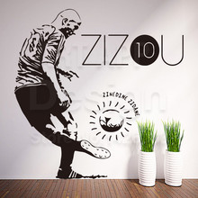 Art cheap home decoration vinyl football zidane wall sticker removable house decor colorful France soccer player decals in rooms