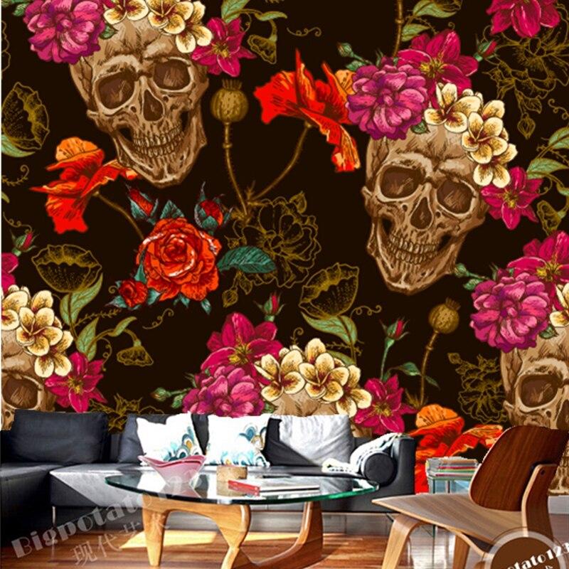 Custom 3D retro wallpaper. Skull flowers used to decorate the living room mural KTV Bar Restaurant backdrop waterproof wallpaper<br>