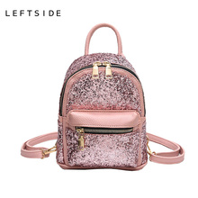 LEFTSIDE 2017 Women's Sequins Pu Leather Backpack children backpacks mini Bag fashion small back pack for teenage girls(China)