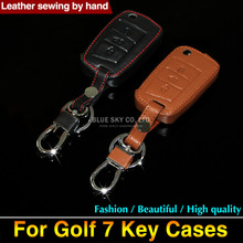 Car styling For Volkswagen VW Golf 7 Skoda Octavia A7 Leather key cases / leather key bag/ Golf 7 Skoda Octavia A7 key cover(China)