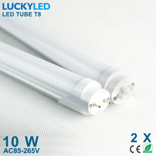 2pcs/lot high brightness led tube t8 600mm 10W smd2835 50leds led lamp light AC85 - 265V warm white / cool white Free shipping(China)