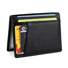 Slim Soft Wallet genuine leather mini credit card wallet purse card holders Men Wallet Thin Small Card Bag credit card holder(China)