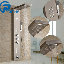 POIQIHY Modern Triple Shower Panel Handles Thermostatic Bathroom Faucet Wall Mounted Shower Faucet with Tub Filler Mixer taps(China)