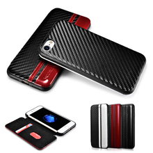 XOOMZ for iPhone 7 7Plus Carbon Fiber PU Flip Case for iPhone 7 Plus Ultrathin Folio Cover for iPhone7 Shell Wear Resistant Case