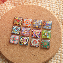 20pcs Square Glass Cabochon 25mm 20mm 12mm 10mmmixed Symmetric photo Jewelry cameo findings for pendants necklace(China)