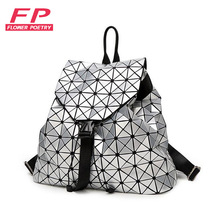 2016 Women's Backpack Bao Bao Geometric Patchwork Diamond Lattice Ladies Backpack For Teenage Girl BaoBao School Bags sac a dos