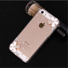 New 3D Flower bling Crystal diamond Cell Phone Shell back cover hard case For Apple iphone 5S Iphone5S