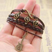 Vintage Multilayer Bracelets Angel wings Owl Peace Dove Guitar Promotional Bangles for Women