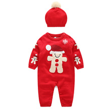 Fashion Costume Christmas Baby Romper Long Sleeve Spring Autumn Wear Clothing Set Top+headband or Hat Overalls(China)