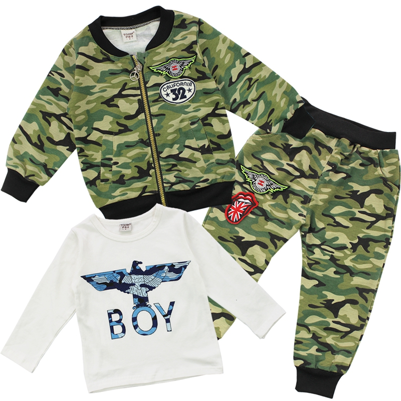 Aliexpress Com Cool Fashion Boy S Baby Camouflage Coat T Shirt Pants Casual Outfit 3 Piece Tracksuits Spring Fall Clothes 4 Colors From