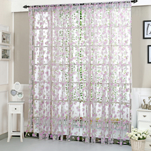 2*0.95M Floral Tulle Curtains Home Door Window Curtains for Bedroom Living Room Screen Kids Bedroom Curtains(China)