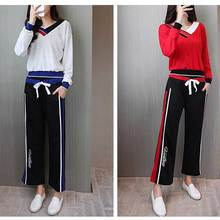 Women's Autumn Tracksuit 2-Piece Set t-shirts+Long Pants) Leisure Suits Female Sporting Outfit Casual Clothing Plus Size 5XL