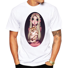 2017 New Fashion Cat Summer Men T Shirt Short Sleeve Barbie Girl Holding Charlie Printed t-shirts Casual Cool Tee