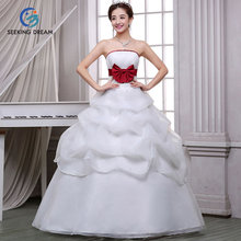 Summer New Sexy Ivory White Ball Gown Dress Soft Strapless Wedding Dress Lace Up Pleat Elegant Bride Customzie Size DL2080 Bow(China)