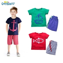 LONSANT Brands Baby Boy Clothing Set 2017 Summer Striped Cotton Clothes Set T shirt Pant 2Pcs Set Baby Sports Suits Dropshipping