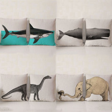 Creative Split Type Marine Animal Cushion Covers Elephant Shark Pattern Cotton Linen Throw Pillow Case for Couch Home Decorative(China)