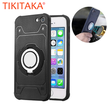Phone Cases For iphone 7 6 6s Plus 5 5s SE Case Car Holder Stand Magnetic Suction Bracket Finger Ring TPU + PC Cover Shell Coque