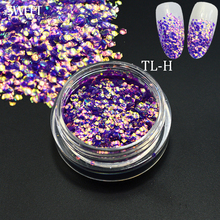 SWEET TREND 1 Bottle Shining 3D Mermaid Sequins Slice Nail Art Chameleon Decoration Paillette Tips DIY Manicure Stickers LATL-H(China)
