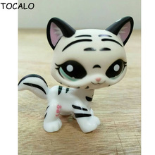 8cm Lovely Pet Collection LPS Figure Toy Black & White Striped Cat Child Loose Cute Figure Toys #1498