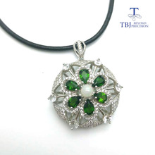 TBJ,stylish design ,Natural chrome diopside with opal big gemstone pendant in 925 sterling silver gemstone jewelry with gift box(China)
