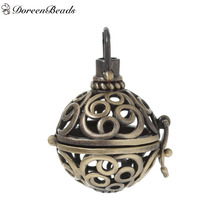 DoreenBeads Antique Bronze Vintage Copper Wish Box Pendants Round Hollow Carved Can Open (Fit Bead Size: 16mm) 36mm x 23mm, 1 PC