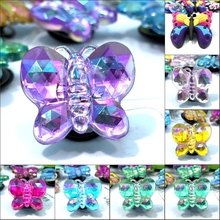 1pcs Crystal Butterfly High Imitation PVC Shoe Charms,Shoe Buckles Accessories Fit Bands Bracelets Croc JIBZ,Kids Party Gifts(China)