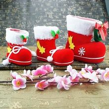 Toy Decorative Christmas Santa Candy Gift Kids Bag Boxes Xmas Boots Stockings Bags S/M/L