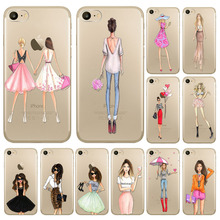 Beautiful Dress Shopping Girl Phone Case For iPhone 7 7plus Transparent Soft Silicon Fashional Girl Cover Mobile Phone Bag