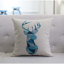 Deer Giraffe Cushion Cover Tree Birds Bear Pillow Case Blue Series Geometry Thick Linen Cotton Bedroom Sofa Decoration