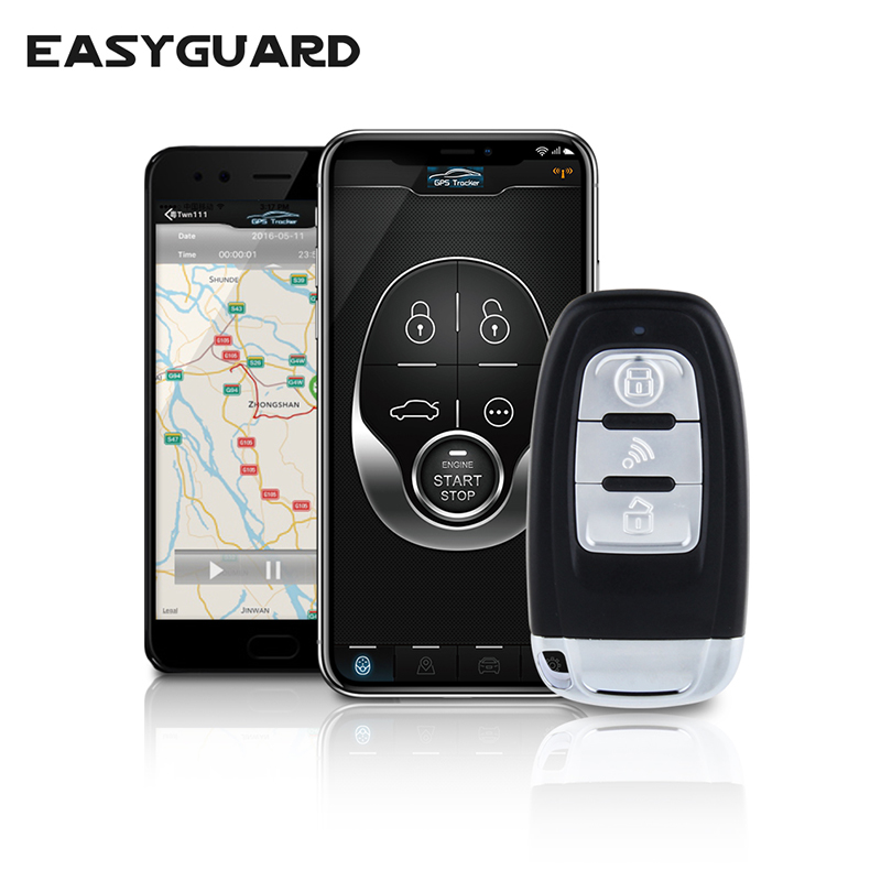 EASYGUARD GSM car alarm with GPS tracking remote start pke keyless push start system compatible with IOS & Android smartphone title=