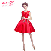 AnXin SH Red rose embroidery sexy perspective short paragraph bride Cocktail Dresses red Cocktail Dresses 2469