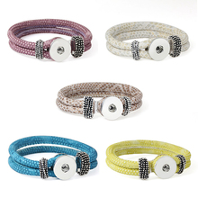 Length Customed 18 color bracelet for women 18mm xinnver snap button armband PU leather sterling jewelry bohemian for man(China)