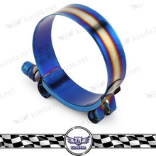 Universal 2 '' - 3.5'' Titanium Blue Finish Adjustable Stainless Steel Hose Clamp Kit(China)
