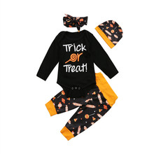 Newborn Baby Boys Girls Clothes candies print Trousers Geometry Hat Bow Headband long sleeve round neck Bodysuit 4pc cotton Set(China)