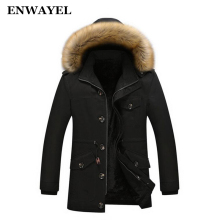 ENWAYEL Winter Thick Warm Cotton Male Jacket Men Parka Hooded Casual Wadded Outerwear Fashion Faux Fur Hood Padded Quilted Coat(China)