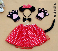 children kid cosplay party red Minnie mouse costume including bow tie gloves skirt and tail performance animal clothing costume