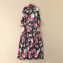 2017 High Quality Europe And United States Women's New Retro Fancy Flower Printed Turn-down Collar Long Sleeve Ball Gown Dress