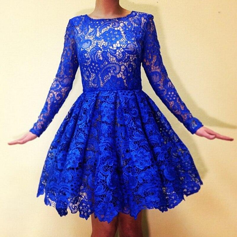 Кружевное синее короткое платье