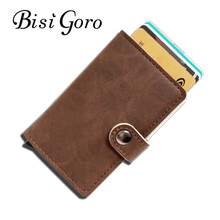 BISI GORO 2017 Men And Women Credit Card Holder Single Box Pu Leather Vintage Mini Safe Aluminum Antimagnetic Purse Card Case(China)