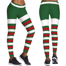 Christmas Stripes Women Yoga Leggings Gym Running Skinny Trousers Cosplay Santa Elf Sports Tights Red Green White Stripes Pants