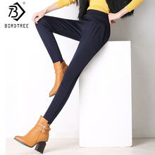Warm Thicken Velvet Winter Ladies Korean Long Trousers Women's Pockets Elastic Skinny Office Khaki Pants Plus Size 6XL B7O011A(China)