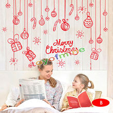 Merry Christmas and Deer PVC Window Sticker Removable Xmas Decal Wall Stickers Home Store Christmas Decoration Supplies(China)