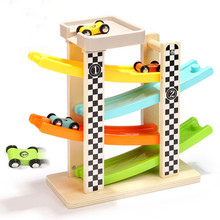 Track Car Toys Gliding Cars Race Track Playset Kids Wooden Switchback Slider Ladder Slot 4 Levels Mega Ramp Car Racing Games(China)